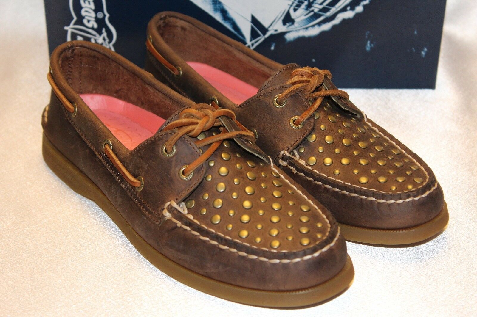NEW  NIB  Sperry Top Top Top Sider A O 2 Eye Brown Leather Stud Boat shoes Sz 5 8 12  90 036478