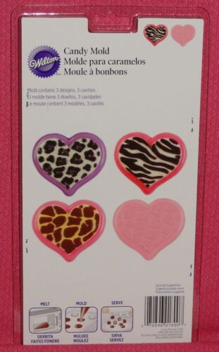Heart Animal Print Chocolate Candy Mold,Bonbon,Wilton,Clear Plastic,2115-1800