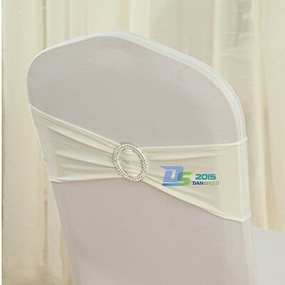 14 Colors Stretch Wedding Chair Cover Band Elastic With Buckle Slider Sash Bow