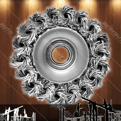 "Heavy Duty 11000 RPM 4.5/""x5//8/""-11Thread Knott Twisted Steel Crimp Cub Wire Brush"