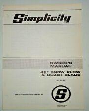 Simplicity 891 42 Snow Plow Dozer Blade Owners Parts Manual Catalog Original