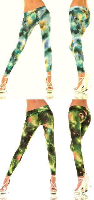 Leggings grün blau bunt 36/38 Legging  Hose lang Fasching Weltall Stretchhose