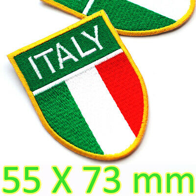 2 ITALY Flag Iron-On Patch Italian Military Emblem Embroidered