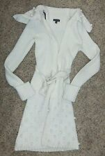 BEBE Winter White Belted Long Knit Sweater Coat Size S
