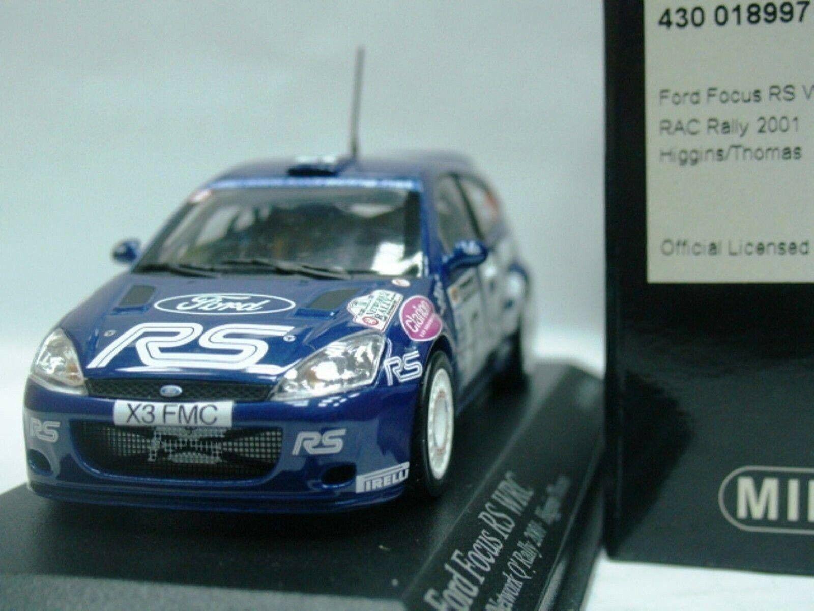 Wow extrêmement rare FORD FOCUS RS WRC 2001  17 RS Higgins 57. RAC 1 43 Minichamps