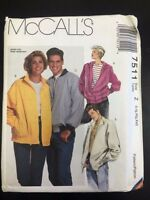 Mccall's 7511 Misses', Men's, Or Teen Boys', Unlined Jacket - Sizes Lrg-xx-lrg