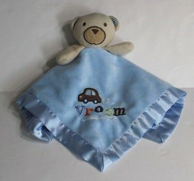 Circo Blue tan teddy Bear Vroom Car Baby Security Blanket TARGET velour satin
