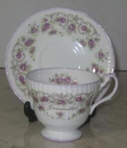 Vtg-Grandmother-Cup-amp-Saucer-Set-Roses-tea-coffee-Rosina-Bone-China-gift-purple