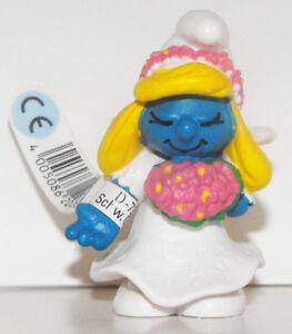 Bride Smurfette 2-inch Plastic Figurine 20412 Wedding Cake Topper Smurf Figure