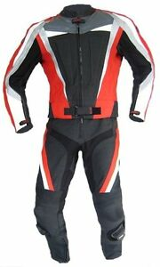 Lederkombi-als-Zweiteiler-in-Rot-Schwarz-zweiteilig-Gr-46-50-52-56-leather-suit