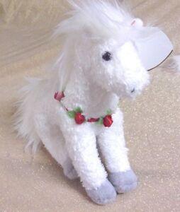 RARE Ty 2005 Beanie Hollyhorse w/tag errors, white horse w/roses, MWMT & HTF