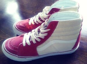 vans cream and red