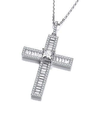 J JAZ Dominique Sterling Silver Cubic Zirconia Faith Cross Pendant Necklace