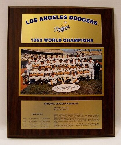 Los Angeles Dodgers 1963 World Series Championship Plaque by Healy Awards