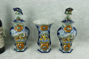 Set-3-Antique-Delft-polychrome-pottery-vases-set-farm-landscape-dutch-decor-mark