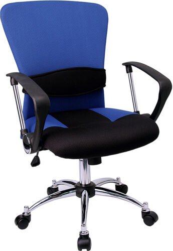 Blue Mesh Office Desk Chair with Arms