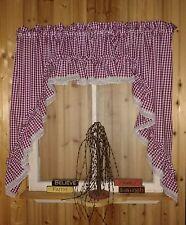"Gingham Burgundy Ruffled Swag Valance Curtain  82"" Wide x 36 Long"