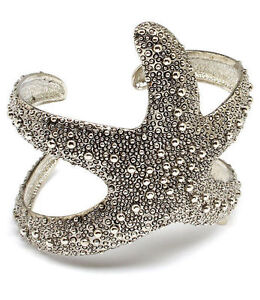Ladies-2-5-034-Inch-Starfish-Silver-Textured-Bracelet-Women-Wide-Cuff