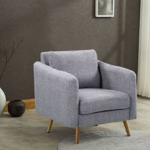 Occasional Fabric Linen Accent Tub Chair Bderoom Lounge Armchair with Footstool