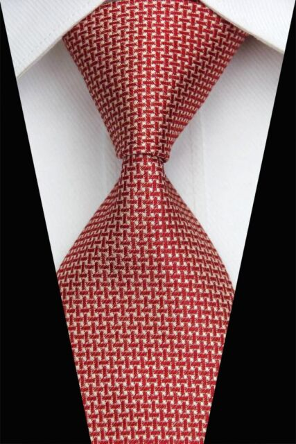 PT0438 Red White Novelty Classic Silk Jacquard Woven Man's Business Tie Necktie