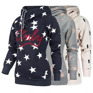 7a0fc0cf9b94 ONLY Damen Sweatshirt Pullover Hoodie Kapuze Allover-Prints Sterne .