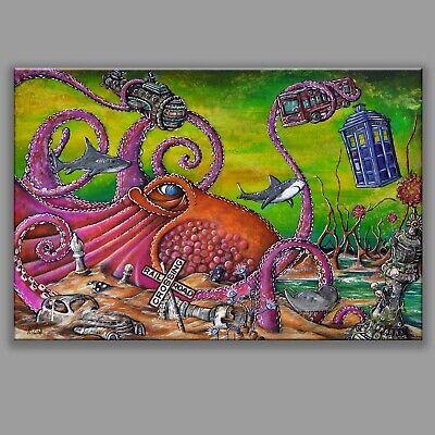 8X12 CHECKMATE surreal graffiti tattoo art doctor dr who tardis chess dalek sea