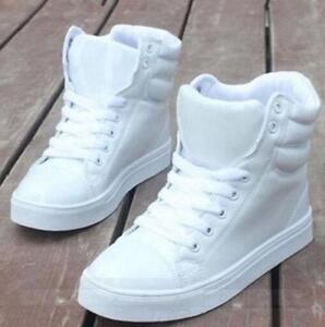 Vente-Chaude-Femme-Hip-Hop-Fashion-Sneakers-High-Top-Danse-Chaussures-De-Sport-A-Lacets-Neuf