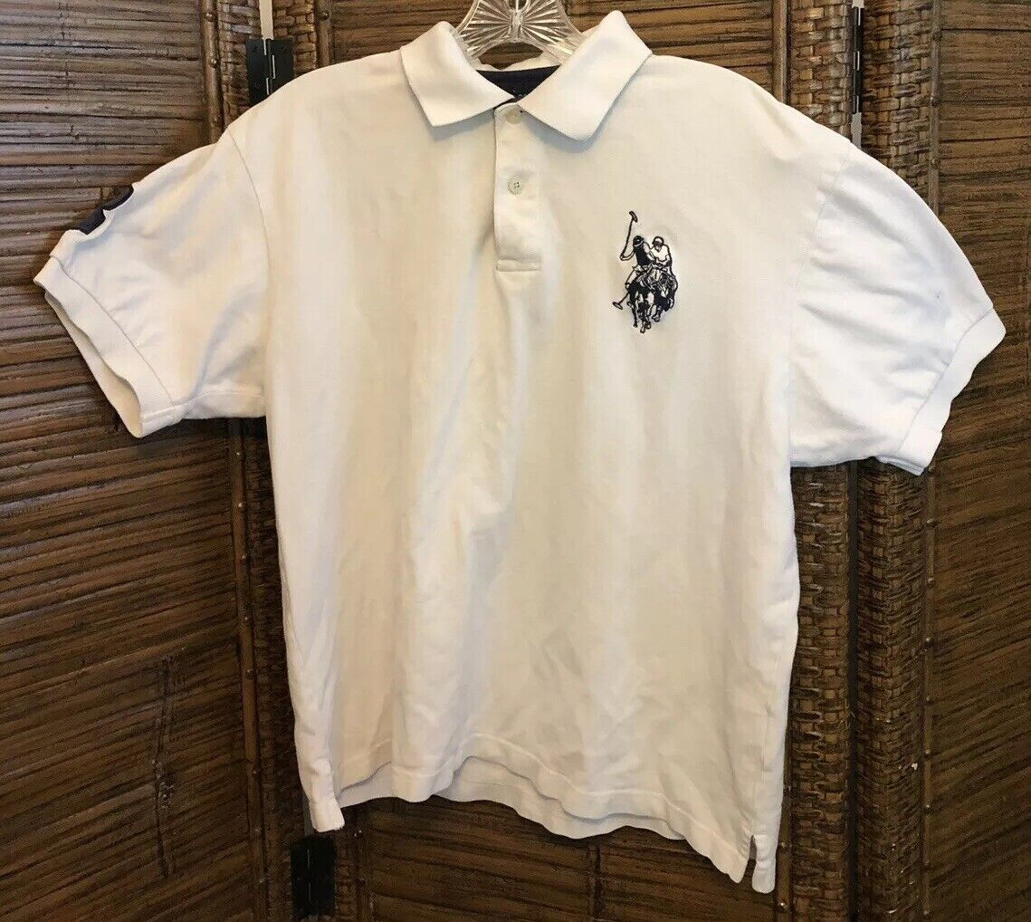 ebb28ca8 U.S. Polo Assn.Embroidered White Mens Rugby Polo Short Sleeve Shirt. SZ.M M