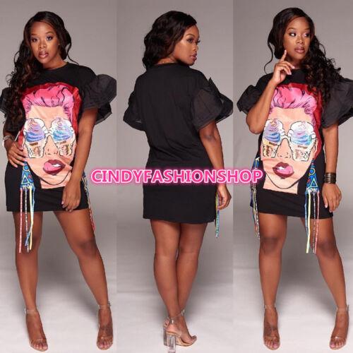 USA Women Ladies Fashion Short Sleeve Print O-Neck Mini Bandage Mini Dress