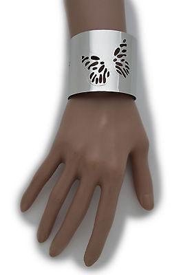 Women Basic Style Silver Metal Cuff Bracelet Butterfly Wrist Accessory Jewelry