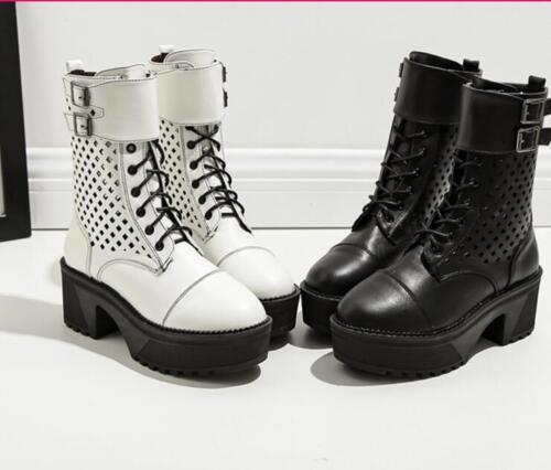 Womens Buckle Lace Up Martin Mid Calf Boots Round Toe Platform Block Heels Shoes
