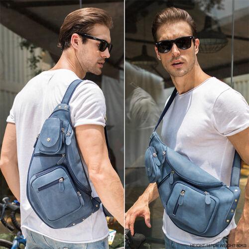 Blue Men/'s Leather Sling Backpack Chest Pack Bike Travel Messenger Shoulder Bag