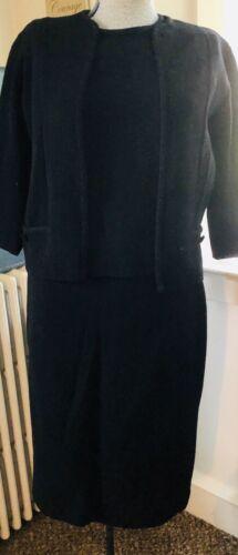 Vtg 60s Italian Black 3Pc Black Knit Suit Monroe H