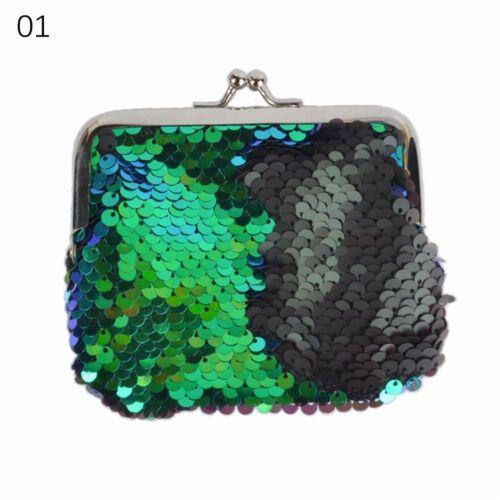 Women Sequins Buckle Mini Change Coin Purse Clutch Handy Mini Key Bag UK Stock!