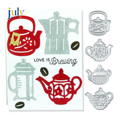 4X Teapot Metal Cutting Dies Die Cut Stencils Diy Scrapbooking Card Making Craft