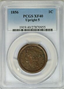 1856-PCGS-1C-Braided-Hair-Large-Cent-Penny-Extra-Fine-XF40-Upright-5