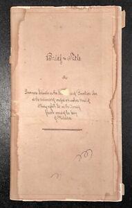 PHILADELPHIA-PENNSYLVANIA-Brief-of-Title-Document-Sergeant-Family-1792-1881