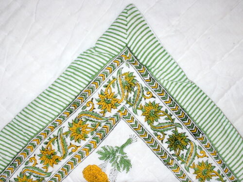 Indian Home And Garden Bedding Cotton Quilt Coverlets Handmade Block Print Twin