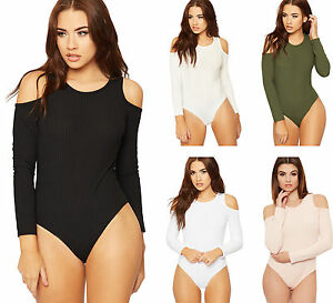 Womens-Ribbed-Long-Sleeve-Bodysuit-Top-Ladies-Cut-Out-Cold-Shoulder-Leotard-8-14