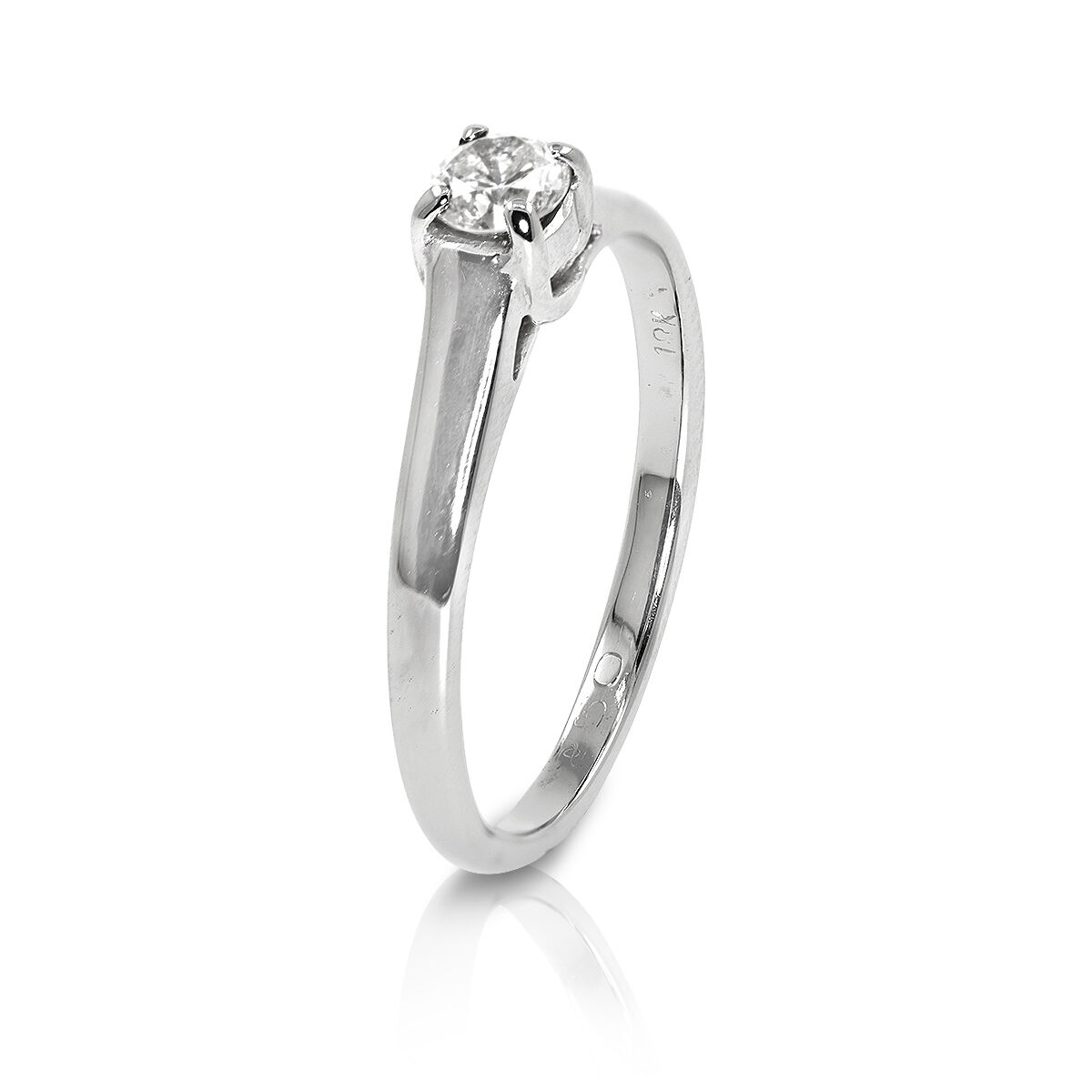 18 CT White gold 0.25 Diamond Solitaire Engagement Ring - Size M  (00397)