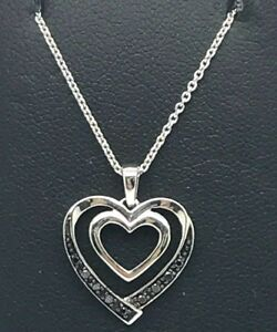Sterling-Silver-925-Elegant-Black-Diamond-Double-Heart-Love-Pendant-Necklace-18-034