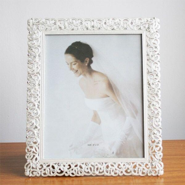 Fashion Crystal White Wedding Home Decor Photo Frame Alloy Metal 8'' X 10''