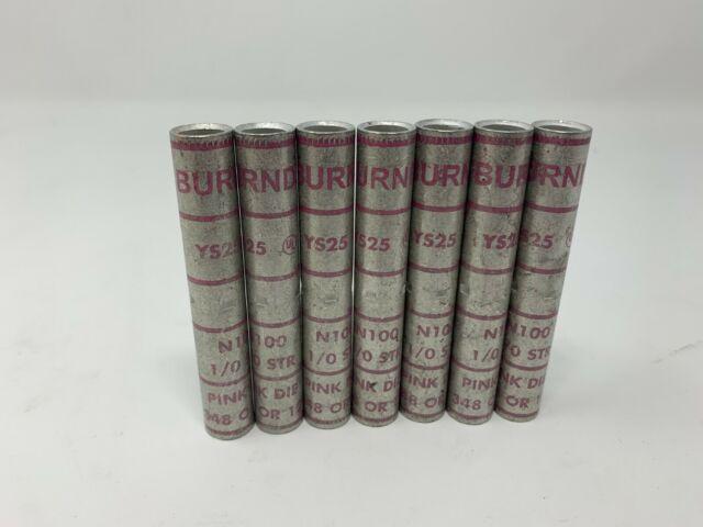 NEW LOT OF BURNDY YS25-L N100 1//0 STR Pink Copper Compression Butt Splice 4