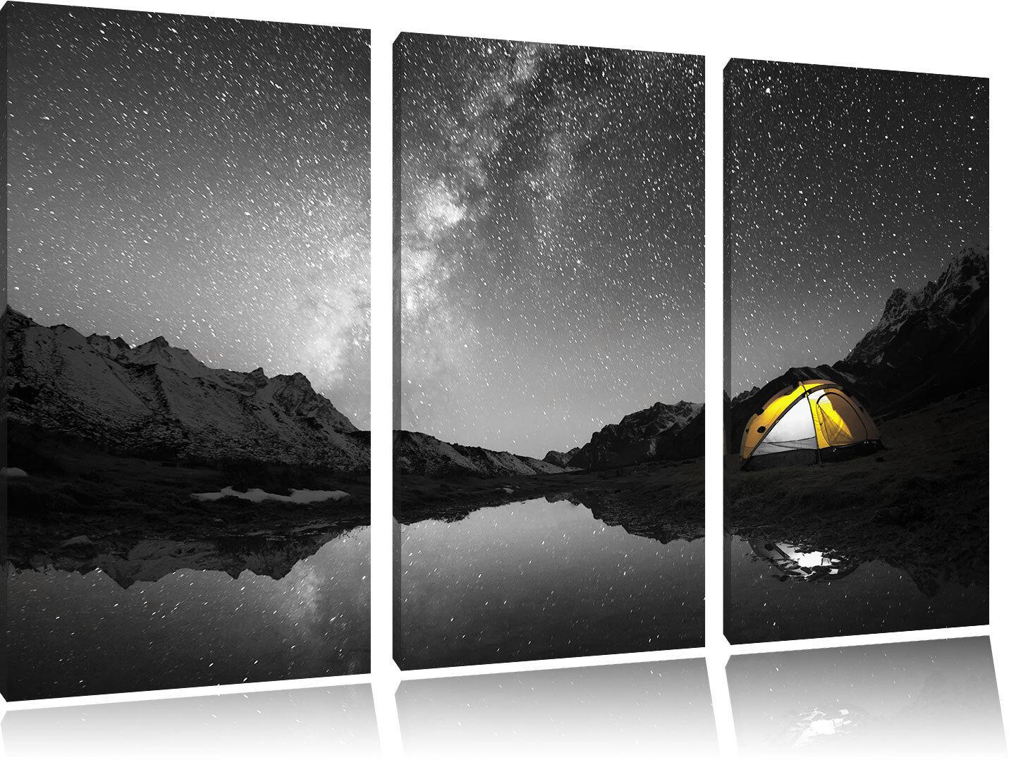 Campeggio sotto Migliaia Stelle 3-Teiler Quadro su Tel Decorazione Parete