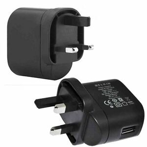 2-x-BELKIN-CHARGEUR-MURAL-USB-Adaptateur-UK-3-broches-pour-apple-samsung-sony