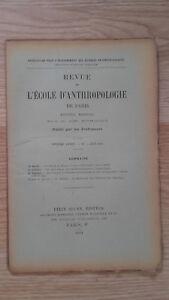 Recueil Mensual - Revista ESCUELA Antropología De París - 1901 - N º 6