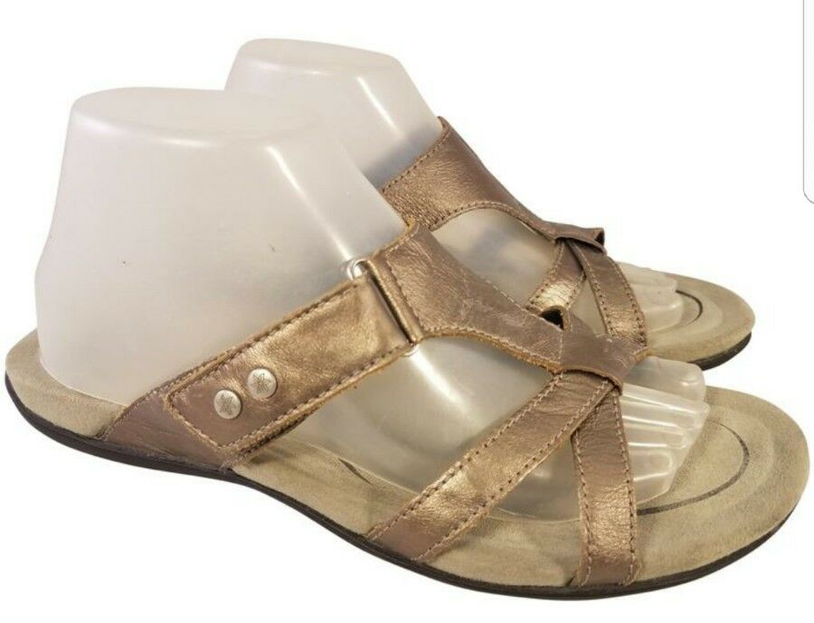 SIZE US 10 ABEO Damenschuhe SANDALS  PEWTER METALLIC LEATHER EUC