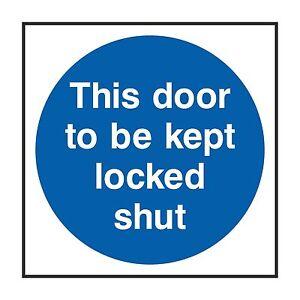 1 X This Door Pour Être Kept Verrouillé Fermer Autocollant D'avertissement Frg47yma-07224152-472087430