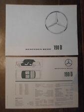 MERCEDES BENZ 190D FINTAIL orig 1964 UK Mkt Sales Brochure + Specs