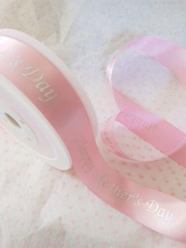 Le madri giorno 22nd MARZO 2020 argento su nastro di raso rosa 25mm-Varie Lunghezze